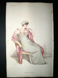 Ackermann 1812 Hand Col Regency Fashion Print. Evening Dress 8-41